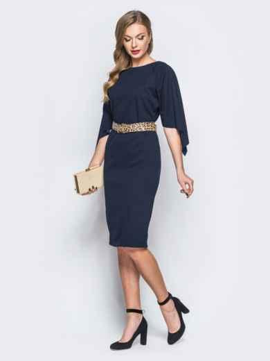 Платье тёмно-синего цвета с леопардовым поясом в комплекте - 17943, фото 2 – интернет-магазин Dressa