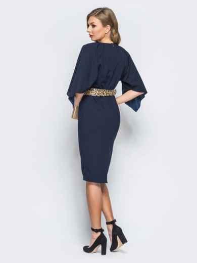 Платье тёмно-синего цвета с леопардовым поясом в комплекте - 17943, фото 3 – интернет-магазин Dressa
