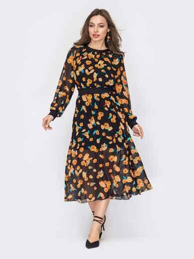 Шифоновое платье в цветочный принт с расклешенной юбкой черное 53419, фото 1