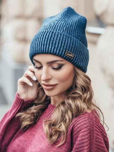 Темно-синяя шапка-колпак с напылением - 15502, фото 2 – интернет-магазин Dressa