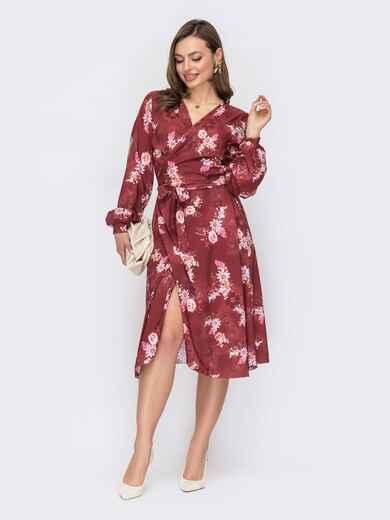 Терракотовое платье на запах с цветочным принтом 53422, фото 1