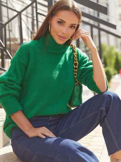 Зелёный свитер свободного кроя с воротником 54903, фото 1