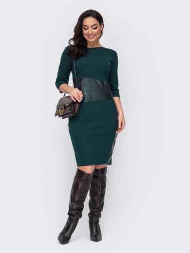 Зеленое платье батал со вставкой из эко-кожи 52734, фото 1