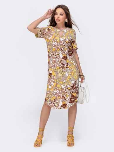 Прямое платье с принтом и фигурным вырезом бежевое 48411, фото 1
