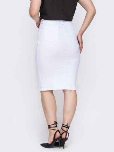 Белая юбка-карандаш большого размера 49839, фото 2