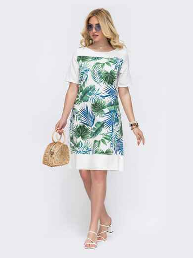 Белое платье батал прямого кроя с растительным принтом 49214, фото 1