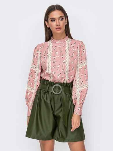 Блузка с принтом и кружевными вставками розовая 51173, фото 1