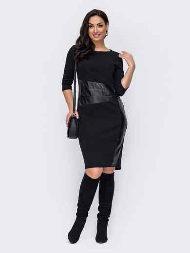 Чёрное платье батал со вставкой из эко-кожи 52733, фото 1