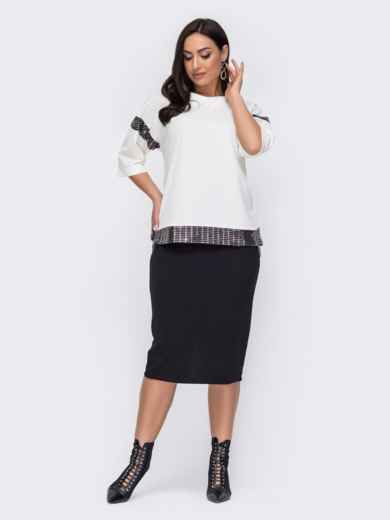 Комплект большого размера из юбки-карандаш и кофты белый 52735, фото 1
