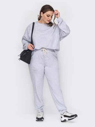 Костюм большого размера с кофтой и брюками серый 53330, фото 1