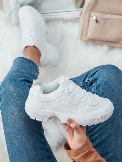 Кроссовки из искусственной кожи белого цвета 51258, фото 1