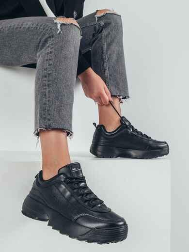Кроссовки из искусственной кожи черного цвета 51257, фото 1