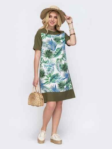 Платье батал прямого кроя с растительным принтом хаки 49209, фото 1