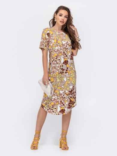 Прямое платье с принтом и фигурным вырезом бежевое 48411, фото 3