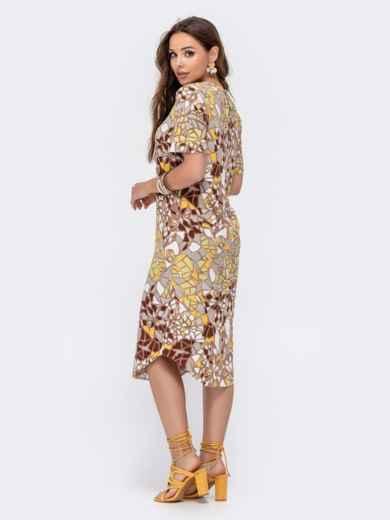 Прямое платье с принтом и фигурным вырезом бежевое 48411, фото 4