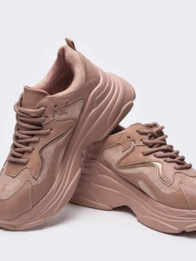 Розовые кроссовки на массивной подошве 51256, фото 2
