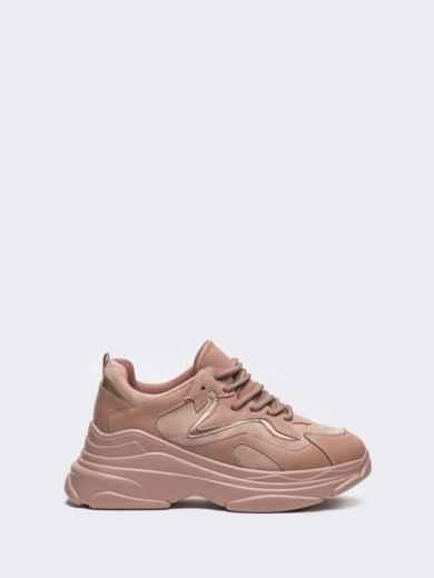 Розовые кроссовки на массивной подошве 51256, фото 3