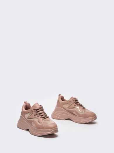 Розовые кроссовки на массивной подошве 51256, фото 4