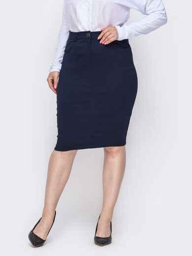 Тёмно-синяя юбка-карандаш большого размера 49840, фото 1