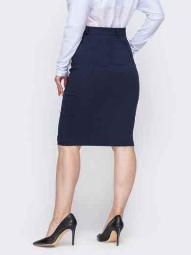 Тёмно-синяя юбка-карандаш большого размера 49840, фото 2
