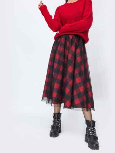 Двухслойная юбка-полусолнце в клетку красная 55326, фото 1