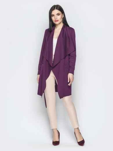 Асимметричный кардиган с накладными карманами фиолетовый - 22173, фото 2 – интернет-магазин Dressa