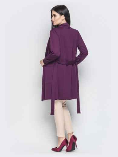 Асимметричный кардиган с накладными карманами фиолетовый - 22173, фото 3 – интернет-магазин Dressa