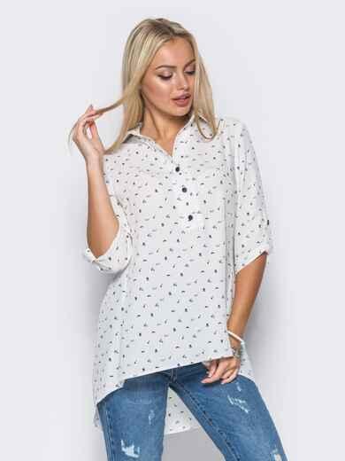 Белая блузка в принт с удлинением по спинке - 10262, фото 1 – интернет-магазин Dressa
