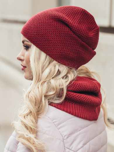 Бордовый одинарный комплект из шапки и хомута - 15532, фото 3 – интернет-магазин Dressa