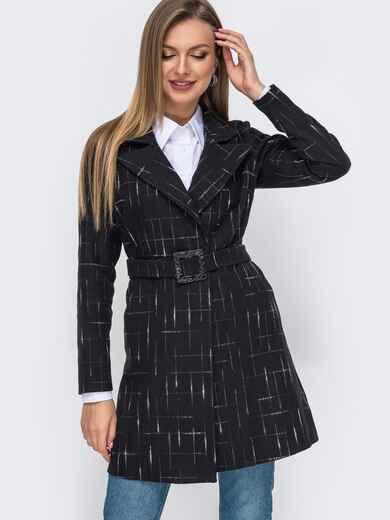 Черное пальто приталенного кроя без подкладки  50791, фото 1
