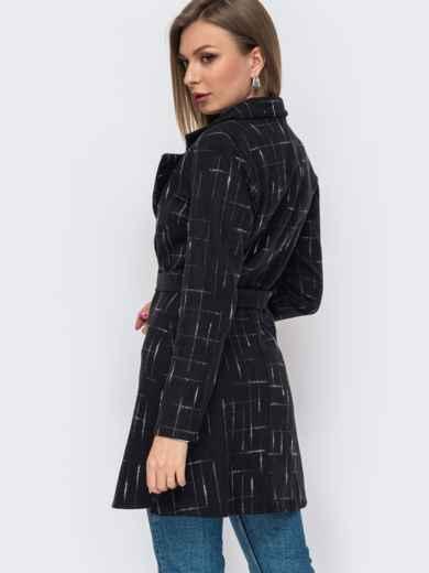 Черное пальто приталенного кроя без подкладки  50791, фото 2