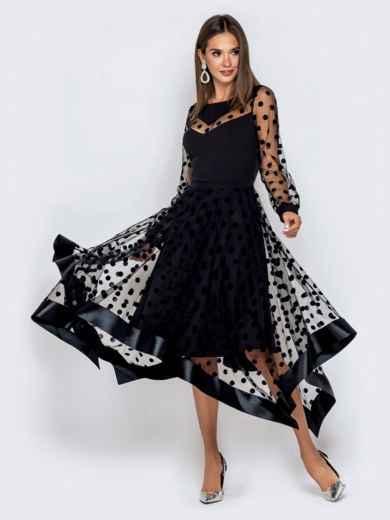 Чёрное платье в горох с рукавами и юбкой из фатина - 40828, фото 2 – интернет-магазин Dressa