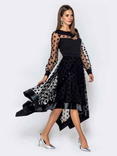 Чёрное платье в горох с рукавами и юбкой из фатина - 40828, фото 3 – интернет-магазин Dressa