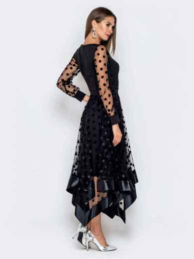 Чёрное платье в горох с рукавами и юбкой из фатина - 40828, фото 4 – интернет-магазин Dressa