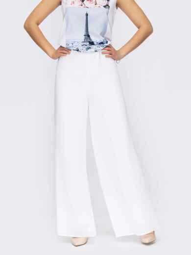 Двухслойные брюки-палаццо с завышенной талией белые 53987, фото 1