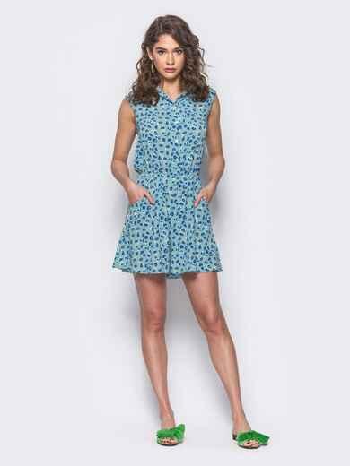 Голубой комбинезон с шортами и отложным воротником - 10423, фото 1 – интернет-магазин Dressa
