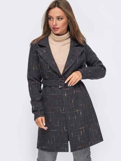 Графитовое пальто приталенного кроя без подкладки 50792, фото 1