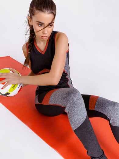 Комплект для фитнеса с контрастными вставками цвета графит 44446, фото 1