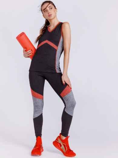 Комплект для фитнеса с контрастными вставками цвета графит 44446, фото 2