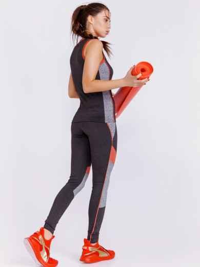 Комплект для фитнеса с контрастными вставками цвета графит 44446, фото 3