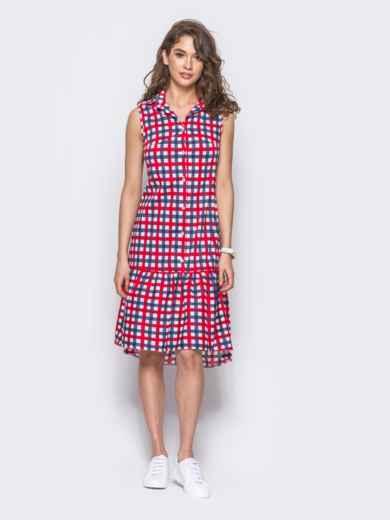 Платье-рубашка в красно-голубую клетку с удлиненной спинкой - 11646, фото 2 – интернет-магазин Dressa