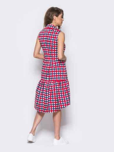 Платье-рубашка в красно-голубую клетку с удлиненной спинкой - 11646, фото 3 – интернет-магазин Dressa