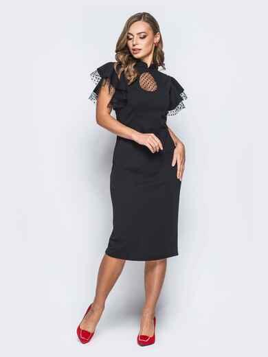 """Платье с вырезом """"капля"""" и фактурным фатином черное - 18194, фото 1 – интернет-магазин Dressa"""