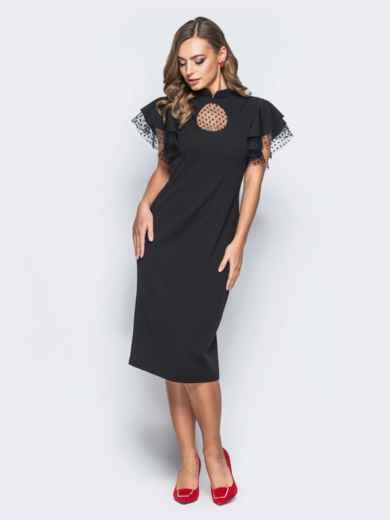 """Платье с вырезом """"капля"""" и фактурным фатином черное - 18194, фото 2 – интернет-магазин Dressa"""