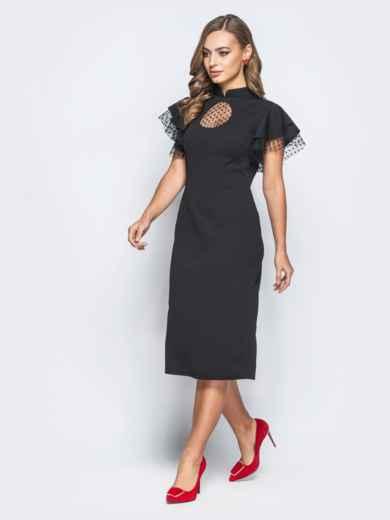 """Платье с вырезом """"капля"""" и фактурным фатином черное - 18194, фото 3 – интернет-магазин Dressa"""