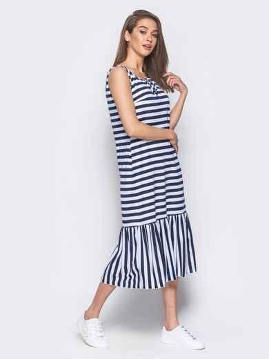 Платье свободного кроя в полоску с оборкой по низу 11929, фото 1