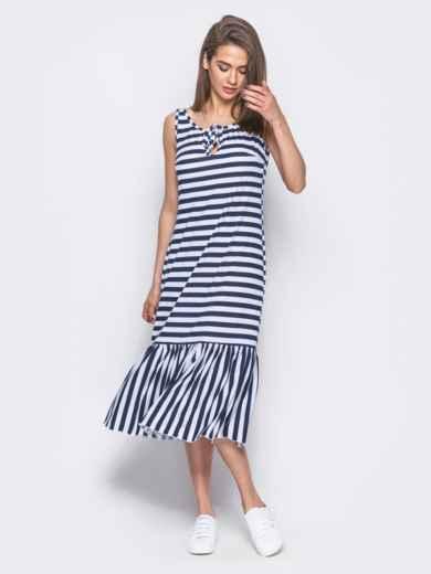 Платье свободного кроя в полоску с оборкой по низу - 11929, фото 2 –  интернет b2d554be7fd