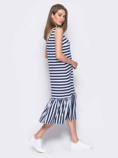 Платье свободного кроя в полоску с оборкой по низу - 11929, фото 3 –  интернет c9045e88795