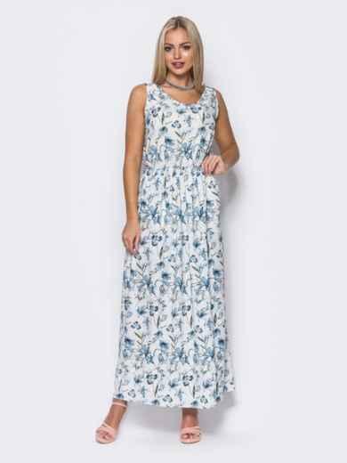 Платье в пол с двойным низом белое - 11644, фото 2 – интернет-магазин Dressa