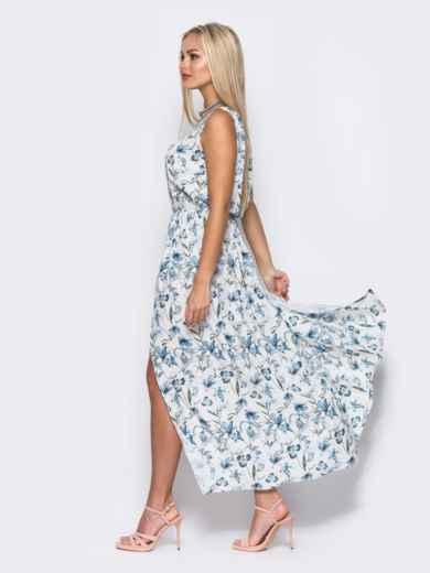 Платье в пол с двойным низом белое - 11644, фото 3 – интернет-магазин Dressa
